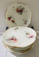 """Antique J&C Louise Bavaria Lot Of 9 Flowers Plates 6,25"""" Gold Edges #230"""