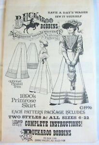 Buckaroo Bobbins 1890s Primrose Skirt Authentic Vintage Western Clothing Pattern