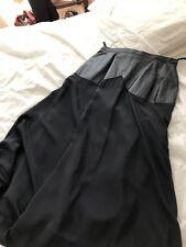 Genuine Designer Vintage Satin Crepe & Leather Black Skirt Rockabilly Boho 70s