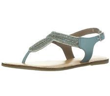 Very Volatile Womens Size 7 Turquoise Blue Margot Thong Sandal Embellished Beads