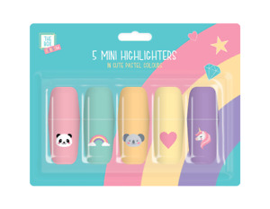 5 x Mini Rainbow Highlighters  Pens Markers Kids Stationary Fun Colours Set