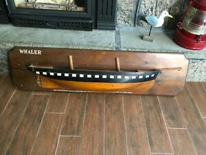 Kate Cory Whaler Antique Vintage LARGE Wooden Half Hull Ship Model