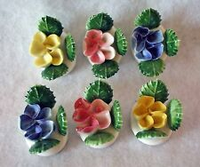 6 TINY PORCELAIN FLOWERS BY L.W.RICE & CO. INC. - ASSORTED COLORS - MINIATURE