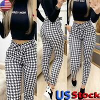 Womens Skinny Pants Houndstooth Print High Waist Pencil Trousers Casual Bottoms