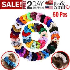 50 Pcs Hair Scrunchies Velvet Elastics Hair Bands Soft Scrunchy Ties Girls Gifts