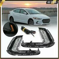 For 17-18 Hyundai Elantra AD LED DRL Fog Lights Dual Function LH RH Turn Signal