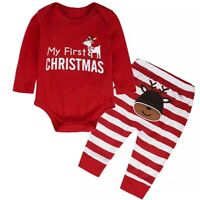 Newborn Baby Girl Boy Christmas Outfit Tops Pants 2Pcs Pajamas Clothes 6-12M