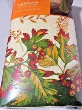 Harvest Medley Vinyl Rectangle Tablecloth leaves Flannel Back 60Inx84In