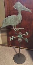Pelican Weathervane Yard Art Copper Patina w/ Stand