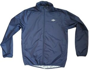 umbro mens nylon zip water resistant hood jacket sports training blue size m