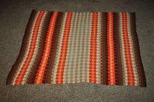 "52"" x  71""  vintage AUTUMN COLOR - ORANGE BROWN stripe AFGHAN  CHIC DORM READY"