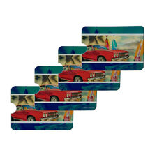 Red Classic Muscle Car Beach Surf Board Credit Card RFID Blocker Sleeves Set