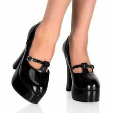 NEW Pleaser Ladies DOLLY49 Black Patent Mary Jane Chunky Platform Pump Heels