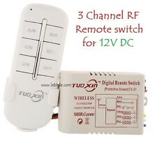 E72 12V DC 3 Way Channel RF Wireless Remote Control Switch Transmitter Receiver
