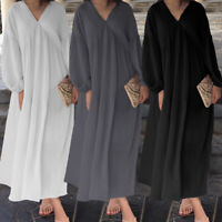 Womens Loose Swing Maxi Dress Long Sleeve Ladies V-neck Holiday Kaftan Plus Size