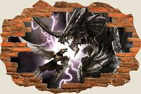 3D Hole in Wall Fantasy Dragons Fighting View Wall Stickers Decal Mural 952