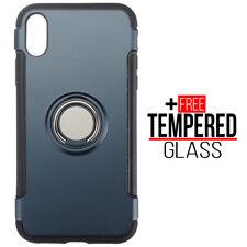 Pour iPhone XR Cas Cover Ring Magnetic Car Holder TPU Shockproof Hybrid - Bleu