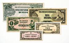 5 diff. WW2 1940's Japanese invasion paper money Burma, NEI, Philippines
