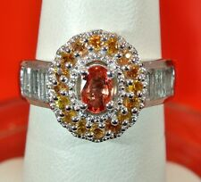ORANGE SAPPHIRE,ORANGE SAPPHIRE & TOPAZ PLATINUM OVER STERLING SILVER RING SIZE7