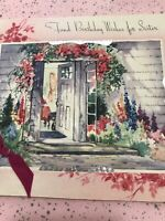 Vintage Birthday Card House Silver Foil Sister Front Door Pink Flowers Ribbon