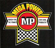 Vintage Original MEGA-POWER Car Care Products Stickers NASCAR IMSA NHRA Racing