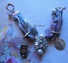 Catholic Religious Medals Virgin Mary, St Benedict Sari Silk Charm Bracelet