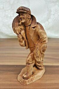 """Vintage Carved Wooden 6"""" Figure Fisherman Whaler Seafarer Pipe Smoking Sailor"""