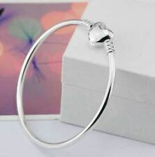 Silver Charm Bangle with Heart Clasp - Black Velvet Gift Pouch - UK Seller