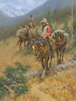 Mountain Trail by Jim Rey Western Cowboy Pack Train Horses Limited Canvas 32x24