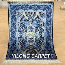 Yilong 2'x3' Fine Handmade Silk Rugs Handwork Blue Oriental Design Carpets 1925