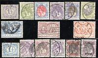 15 NETHERLANDS Stamps Postage Queen Wilhelmina Admiral Ruyter 1898-1919 USED