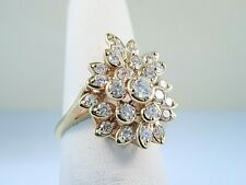 1ctw Diamond Ring Cluster VS2, G Floral Style 14k Gold Fashion Ring