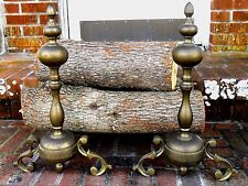VINTAGE BRASS & IRON FRENCH ROCOCO FIREPLACE LOG ANDIRONS FIREDOGS