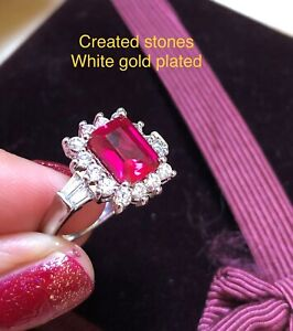 2ct emerald cut ruby cluster ring uk size N ;us 7