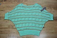 Vintage Damas perfecto pastel verde de manga corta mod ala del murciélago suéter tejido Top S