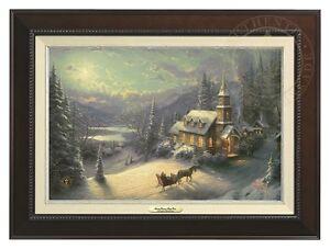 Thomas Kinkade Sunday Evening Sleigh Ride 12 x 18 Canvas (Espresso Frame)