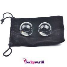 Sale! NEW 2 Glass Love Balls Anal G-Spot Velvet Pouch Ben Wa Adult Sex Toy