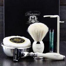 Men's Shaving Set With White Badger Hair Brush,Mach 3 Razor, Stand, Bowl & Soap