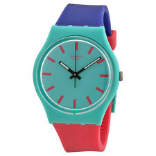 Swatch Shunbukin Green Dial Blue and Pink Silicone Rubber Unisex Watch GG215