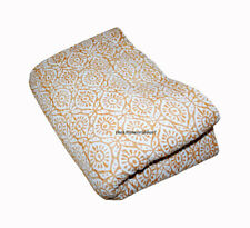 Yellow Print Indian Queen Kantha Quilt Bedspread Blanket Bedding Throw Handmade