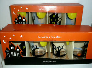 2 SETS NEW POTTERY BARN KIDS HALLOWEEN PLASTIC TUMBLERS GOBLETS HOUSE W/ MOON