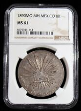 Mexico: Republic 8 Reales 1890 Mo-MH MS61 NGC