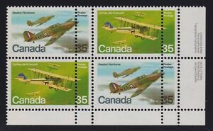 Canada Sc #876a (1980) Hawker & Curtiss JN4 DOUBLE PERFORATIONS ERROR Plate Blo