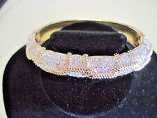 Swarovski Swan Signed Goldtone Clear Crystals gold rope design Cuff Bracelet 389