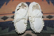 Handmade Native American White Leather Baby Moccasins