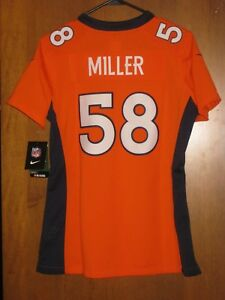 NEW NIKE VON MILLER DENVER BRONCOS COLOR RUSH JERSEY WOMENS SMALL S  RETAIL $145