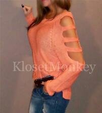 SEXY SUNSET CORAL ORANGE CUT OUT  COLD SHOULDER  SWEATER KNIT SLOUCH TOP S