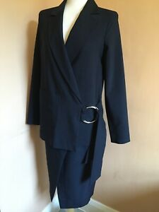 Topshop Navy Skirt And Jacket Suit Co-Ord Set With Belt And Ring BNWT Size 10