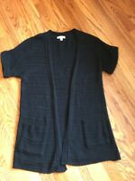 Anthropologie SILENCE + NOISE Sz M Short Sleeve Cardigan Sweater Black Open