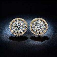 Luxury Women 18k Gold Plated Wedding Jewellry Gift Topaz Silver Ear Stud Earring